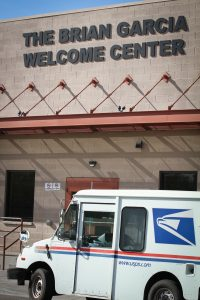 Mail is delivered to homeless clients at the Human Services Campus. Photo by Robin Finlinson.