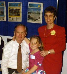 The original Beehive founders, Richard and Charlene Taylor (pictured above), with their oldest grandchild, Mia Leigh-Diero, in a photo from a 1993 LDS bookseller's convention in Salt Lake City, UT. Richard Taylor passed away in Las Vegas, NV, in March 2011, while Charlene Taylor still resides there. Photo courtesy Amie Taylor
