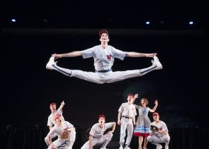 "Taylor Stanger performs a midair split in ""Shoeless Joe from Hannibal, Mo."" Photo by Jaren Wilkey/BYU"