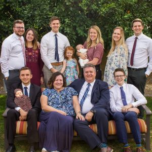 Brad McBride, the self-styled Middleaged Mormon Man, and family—including his EC (Eternal Companion) and FOMLs (Fruit of My Loins), all mentioned in his popular blog. Photo courtesy of Brad McBride.
