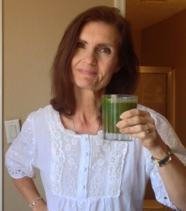 Brenda Farris and her green drink, rich in cancer fighting vitamins. Photo by: Brenda Farris