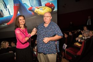 Brenda and Larry Farris at 12 News' Arizona Midday hometown hero showing of Spiderman: Homecoming.
