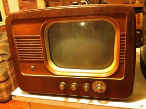 "The ""grandfather"" of a modern flat-screen television. Television programs can help you trace your family history. Image via Creative Commons."
