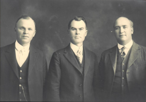 James Warren LeSueur (center), son of early Mesa pioneer John Taylor LeSueur, served as Maricopa Stake President for 15 years, with O. S. Stapley (left) and John Cummard (right) as his counselors.