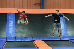 Having fun is easy at an indoor trampoline park. Photo courtesy of Wikimedia Commons