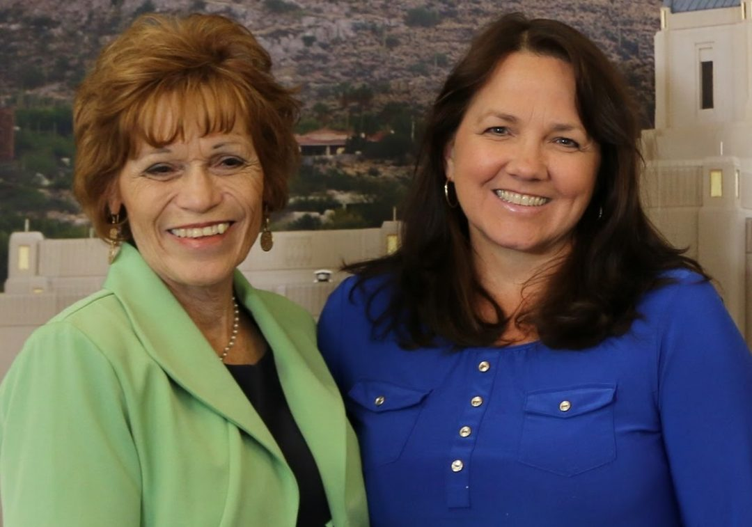 Two journalists, both former Mesa Easter Pageant publicity directors, Cecily Markland Condie (left) and Jill Adair, both journalist are seeking stories and photos for the book they are writing about the history of the pageant. Photo courtesy Jill Adair