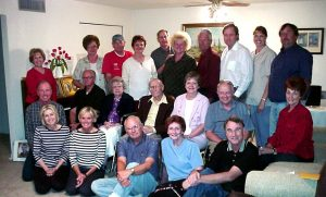 "2004 reunion Descendants of Hyrum Smith Phelps many who still live in the Phoenix area continue to gather often for family reunions and other family events. Shown at a 2004 ""Phelps Cousins"" reunion are (front) Linda Phelps, Metzie Phelps, Fred Augustin, Carole Augustin, Jerry Phelps; (middle) Kelly Phelps, Larry Lines, Maxine Lines, Earl Lines, Nancy Phelps, Stephen Phelps, Shenla Jones; (back) Carolei Phelps, Bette Lines, Wayne Lines, Marilyn Lines, Bill Cunningham, Susan Cunningham, Ron Phelps, Russell Phelps, Nanette Brinton, and Reed Phelps. Photo courtesy Stephen Phelps"