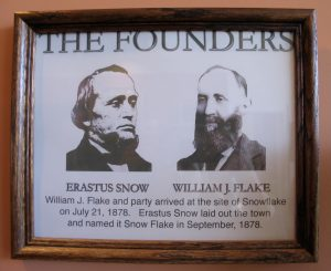 Framed photos of Erastus Snow and William J. Flake in The Stinson Pioneer Museum. Photo by Robin Finlinson.
