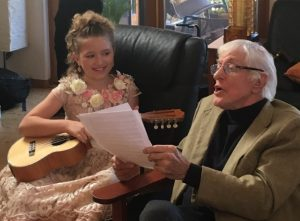 Rosevelt filming and recording with legendary Dick Van Dyke. Photo courtesy of Sherrie Nattrass