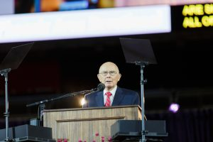 Elder Oaks addresses Arizona Saints. Photo courtesy of The Church of Jesus Christ of Latter-day Saints