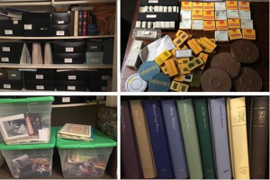 A collage of some of Hicks' projects, and various outdated memory storage systems. Photo by Kim Hicks